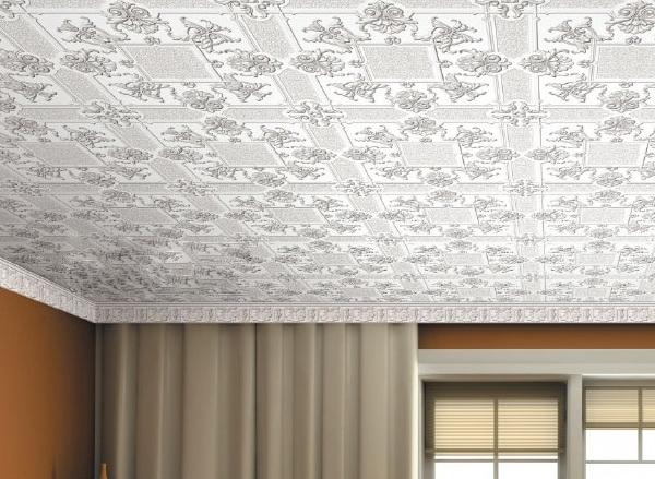 Дизайн потолка из плитки