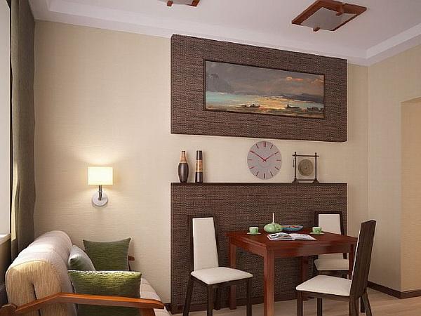 Дизайн зала с окрашенными стенами